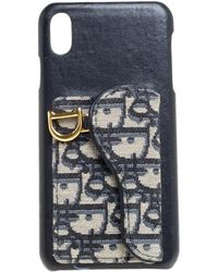 Dior Blue Oblique Jacquard Canvas And Leather Iphone