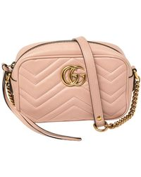 Gucci - Pink Leather GG Marmont Camera Crossbody Bag - Lyst