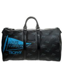 Louis Vuitton Coated Canvas Limited Edition 049/200 Dubai Keepall Bandouliere 55 Bag - Black