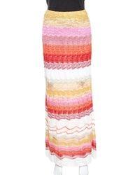 Missoni Multicolour Chevron Pattern Metallic Crochet Knit Maxi Skirt - Pink
