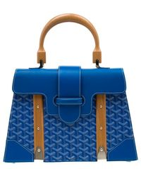 Goyard Blue Coated Canvas And Leather Saigon Top Handle Bag