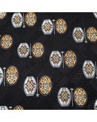 Brioni Vintage Black Ethic Motif Print Silk Tie