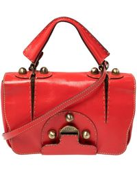 Fendi Red Patent Leather Secret Code Satchel