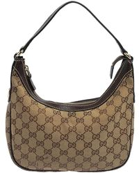 Gucci Brown/beige GG Canvas And Leather Baguette - Natural