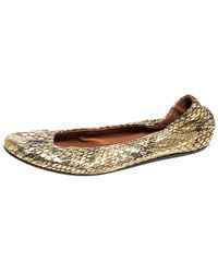 Lanvin Gold Snakeskin Embossed Leather Ballerina Flats Size 37 - Metallic