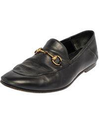 Gucci Black Leather Horsebit Slip On Loafers