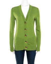 Tory Burch - Lemon Cotton Button Front Simone Cardigan Xs - Lyst