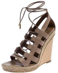Aquazzura Beige Leather Lace Up Amazon Wedge Sandals Size 37 - Natural
