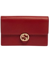 Gucci Red Leather Interlocking G Wallet On Chain