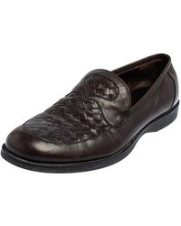 Bottega Veneta Brown Intrecciato Leather Slip On Loafers