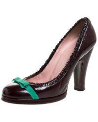 Marc Jacobs Burgundy Leather Bow Platform Court Shoes - Multicolour