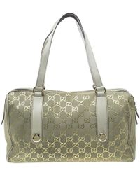 66714e2374a Lyst - Gucci Heritage Pony Hair Large Boston Bag in Natural