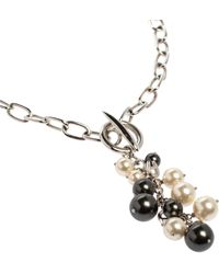 Aigner Silver Tone Faux Pearl Tasseled Necklace - Metallic