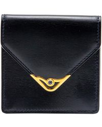 Cartier Sapphire Navy Black Leather Vintage Coin Wallet