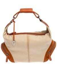 Tod's Beige/orange Nylon And Leather Charlotte Hobo - Natural