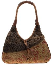 Etro Multicolour Fur And Jacquard Hobo - Brown