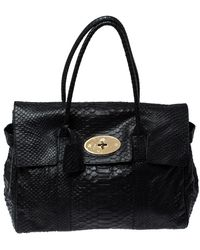 Mulberry Black Python Effect Leather Bayswater Satchel