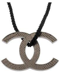 Chanel Jumbo Leather Cc Reversible Pendant Cord Necklace - Grey