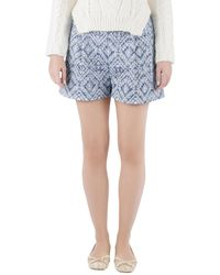 Matthew Williamson Indigo Ikat Pattern Jacquard High Waist Shorts - Blue