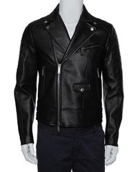 DSquared² Black Leather Quilted Panel Detail Zip Front Jacket