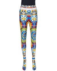 Dolce & Gabbana Multicolor Majolica Print Jersey Footed Leggings - Blue