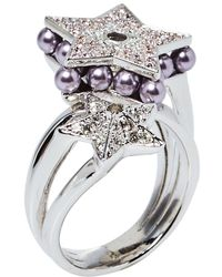 Dior Double Star Crystal And Bead Cocktail Ring - Metallic