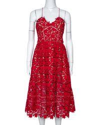 Self-Portrait Red Floral Guipure Lace Noodle Strap Azaelea Midi Dress M