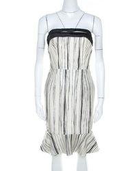 Carolina Herrera - Monochrome Irregular Striped Silk Strapless Flounce Dress S - Lyst