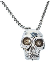 Alexander McQueen Silver Tone Divided Skull Pendant Necklace - Metallic