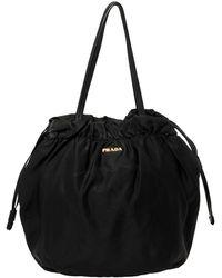 Prada Black Nylon Logo Drawstring Shoulder Bag