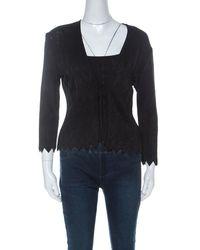 Hervé Léger Black Knit Front Tie Cardigan And Top Set M