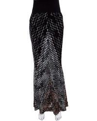 Missoni - Black Chevron Pattern Knit Maxi Skirt M - Lyst