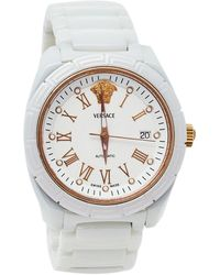Versace White Ceramic Stainless Steel Dv One 01a C1 Wristwatch 41 Mm