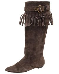 Louis Vuitton Brown Suede Fringe Buckle Detail Knee Length Boots