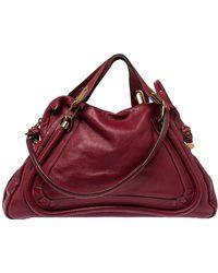 Chloé Maroon Leather Paraty Shoulder Bag - Multicolour