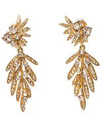 Oscar de la Renta Crystal Tropical Palm Clip-on Earrings - Metallic