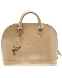 Louis Vuitton Beige Monogram Vernis Alma Pm Bag - Natural
