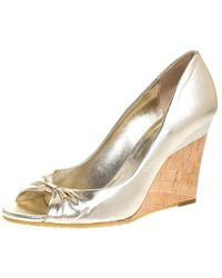 Gucci Metallic Gold Leather Cyprus Open Toe Cork Wedge Court Shoes