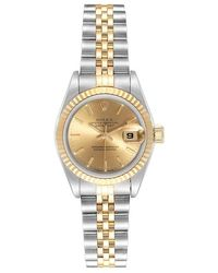 Rolex Champagne 18k Yellow Gold And Stainless Steel Datejust 69173 Women's Wristwatch 26mm - Metallic