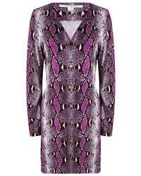 Diane von Furstenberg - Python Printed Silk Long Sleeve Reina Dress L - Lyst