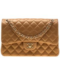 Chanel - Gold Metallic Quilted Leather Jumbo Classic Double Flap Bag - Lyst