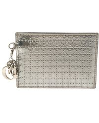 Dior Metallic Silver Micro Cannage Leather Lady Card Holder