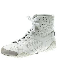 Dior White Perforated Leather Ankle Length Trainer Boots Size 39