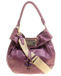 Marc By Marc Jacobs Purple Leather New Q Lil Drawstring Hobo