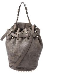 Alexander Wang Taupe Textured Leather Diego Bucket Bag - Gray