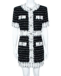 Balmain Monochrome Cotton Blend Tweed Mini Dress - Black