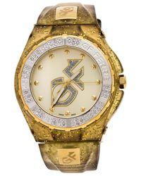 Gianfranco Ferré Gf Ferre Yellow Gold Plated Stainless Steel Rubber Gf.9024j Wristwatch - Metallic