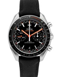 Omega Black Stainless Steel Speedmaster Racing Chronograph 329.32.44.51.01.001 Wristwatch 44 Mm