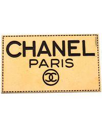 Chanel Gold Tone Enamel Employee Tag Pin Brooch - Metallic
