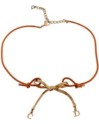 Dior - Orange Cord Cd Charm Gold Tone Bow Choker Necklace - Lyst